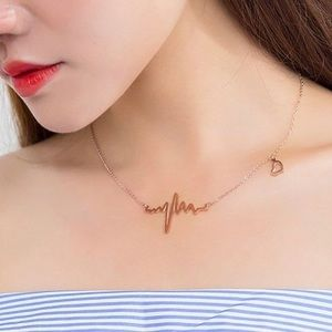 Gold-Plated Heart Rate Necklace